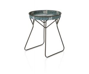 Table d'appoint métal bleu plateau rond