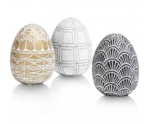 Ensemble de 3 œufs de pâques en ciment décorés noir blanc gold