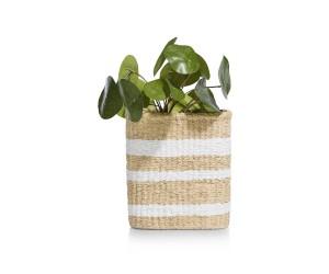 Vase imitation panier rayé blanc