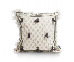 Coussin carré beige et gris détails pompons et franges