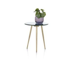 Table d'appoint plateau rond en marbre et pieds gold