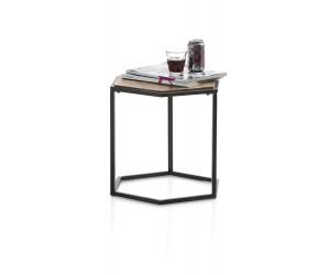 Table d'appoint plateau bois hexagone cadre métal noir