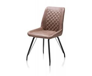 Chaise marron chaud dossier matelassé
