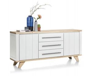 Buffet 190cm bois et blanc