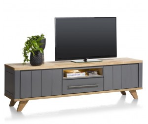Meuble TV 210cm bois et anthracite