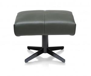Pouf moderne et confortable en cuir gris anthracite
