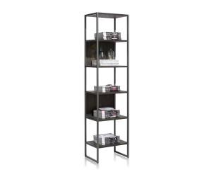 Bibliothèque noire en bois et métal