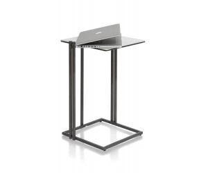 Table d'appoint carrée marbre piétement asymétrique