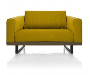 Canapé 1,5 place jaune avec accoudoirs
