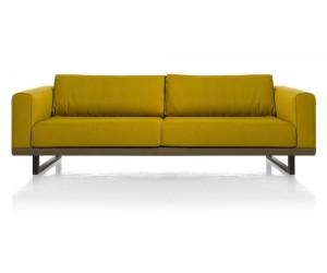 Canapé 3,5 places jaune avec accoudoirs