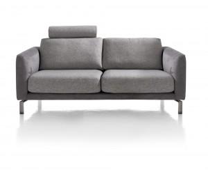 Canapé 2,5 places gris bi-matière