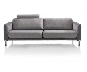 Canapé 3,5 places gris bi-matière