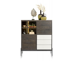 Highboard marron carbone et blanc contemporain
