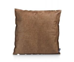 Coussin carré en cuir couleur cognac