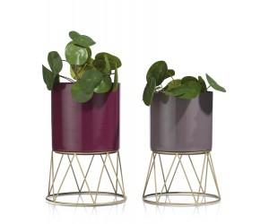 Duo de pots de fleurs colorés et modernes en métal