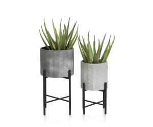 duo de pots de fleurs gris support métal noir