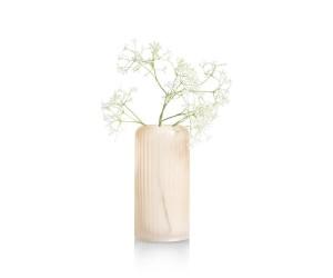 Vase haut en verre givré beige strié