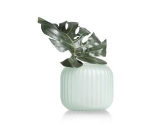 Vase en verre givré et strié couleur menthe