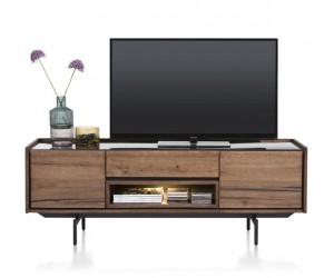 meuble TV rétro chic bois et marbre