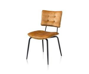 Chaise de table piétement métal noir tissu velours jaune