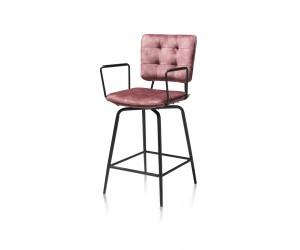 Chaise de bar tissu velours et accoudoirs