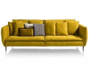 Canapé 3 places tissu jaune moutarde