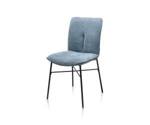 Chaise tissu azur pieds métal noir
