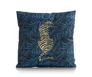 Coussin velours bleu motif tigre