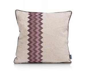 Coussin carré tissu beige motif ethnique rose