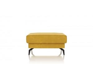 Pouf contemporain tissu jaune moutarde