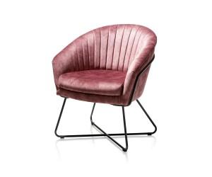 Fauteuil design velours rose pieds métal noir