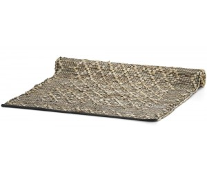 Tapis rectangle tissé en cuir