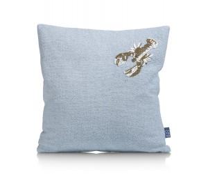 Coussin en coton bleu clair motif écrevisse