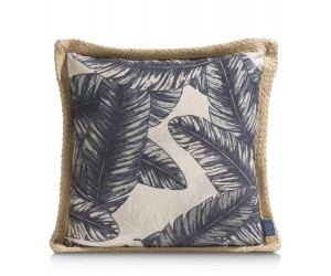 Coussin jungle bleu et beige motifs feuilles de bananier