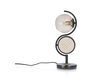 Lampe tendance tissage canné en métal noir et pied marbre noir