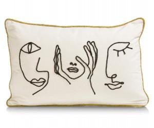 Coussin rectangulaire blanc imprimés visages