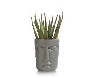 Pot de fleurs gris représentant un visage