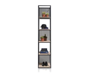 étagère haute industrielle métal noir et bois de kikar
