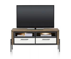Meuble TV moderne bois foncé et MDF laqué blanc