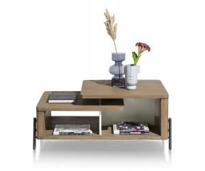 Table basse moderne bois foncé et pied métallique noir