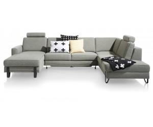 Salon moderne avec grand canapé d'angle convertible avec coffre de rangement en tissu gris clair