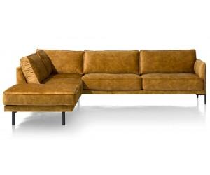 Canapé d'angle avec méridienne en tissu jaune ocre