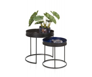 Table gigogne métal noir et bleu motifs fleuris
