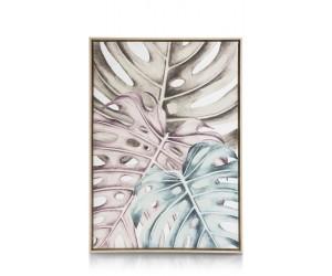 Peinture feuilles de monstera bleu et violet