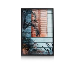 Peinture ambiance tropicale et cadre noir