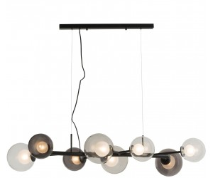 Suspension contemporaine avec boules en verre transparentes