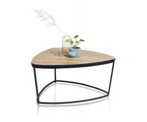 Bout de canapé triangulaire en bois de chêne et métal noir