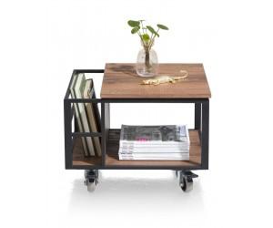 Table d'appoint métal noir et bois de chêne