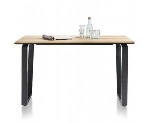 Table de bar moderne et robuste avec bois de chêne et métal