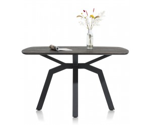 Table de bar ovale contemporaine en métal noir et bois gris anthracite